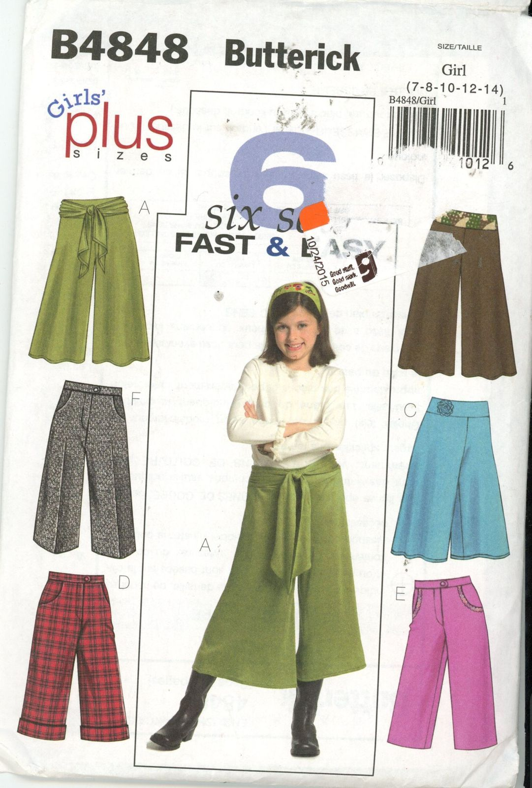 7658711dddbfd Butterick B4848 Girl s Plus Size Gaucho Pants and Pants Size 7-14 UNCUT -  Sewing Patterns