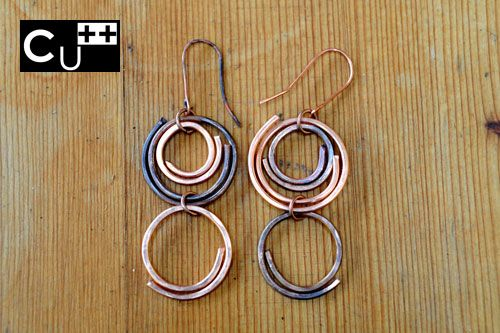 """Anna"": twins handicraft earrings, made of copper and antiqued copper by aes Cyprium"