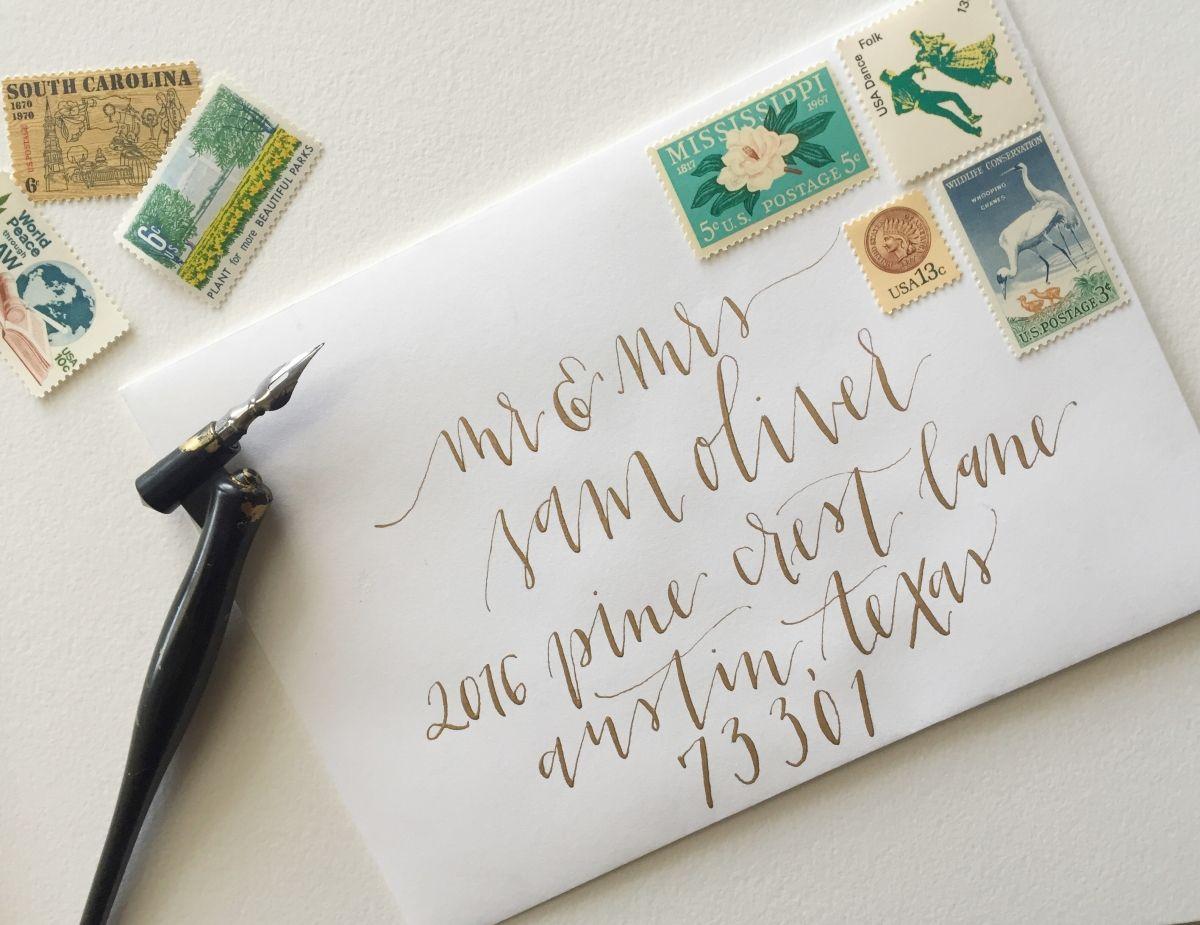 calligraphy envelopes Vintage stamps wedding invitation
