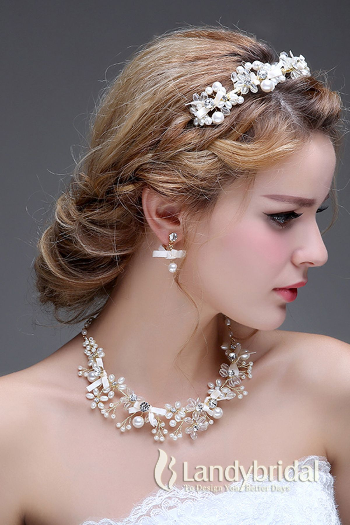 ad6e95a9bdd55 アクセサリー ティアラ イヤリング ネックレス 自然風 繊細なデザイン ウェディング小物 結婚式 花嫁 JJ001500E 税込  ¥10