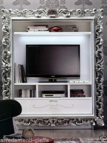 Porta Tv Cornice Argento.Porta Tv Vogue C Cassetto Foglia Argento Oro Laccato