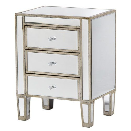 Canora Grey Moonstone 3 Drawer Bedside Table Mirror Bedside