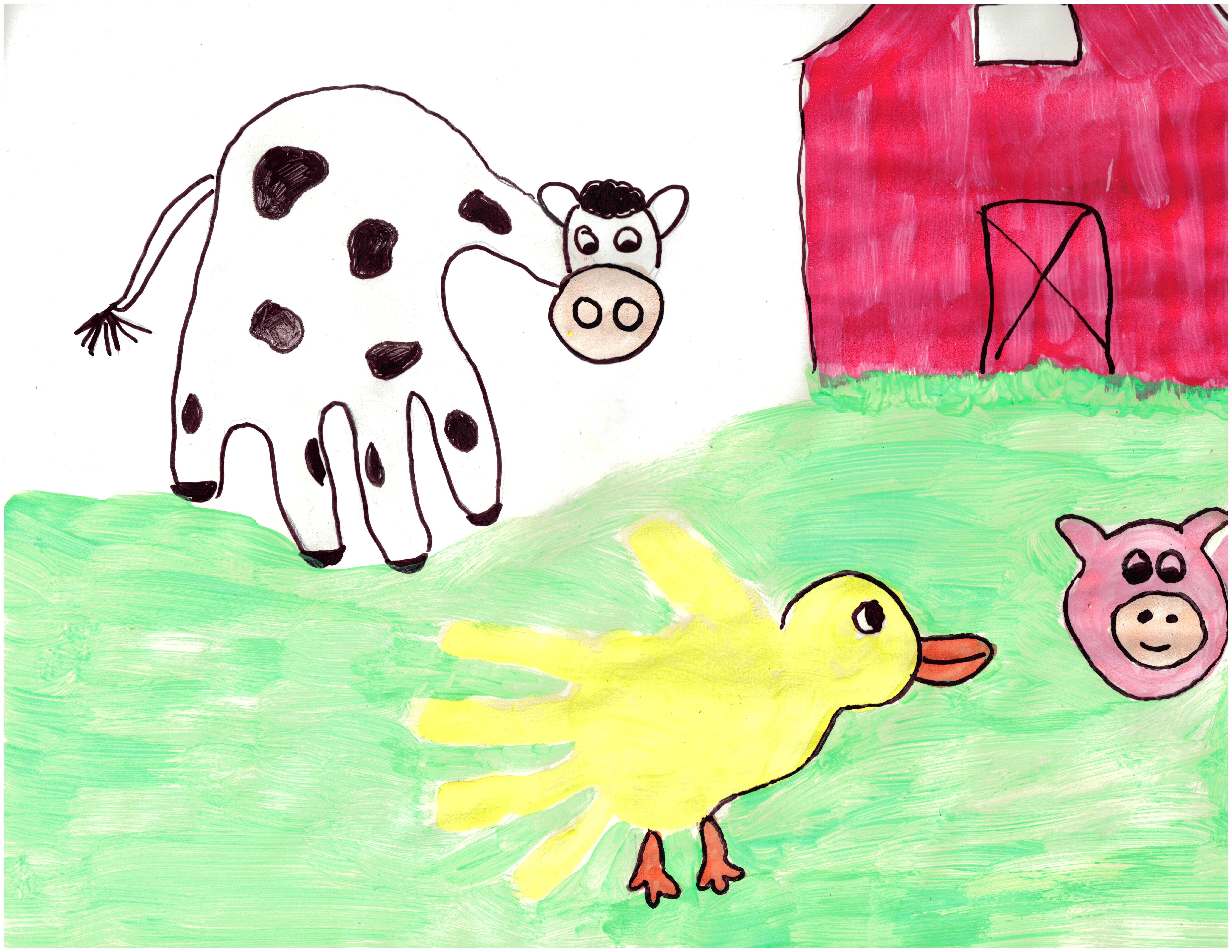 Cow And Duck Handprint On The Farm