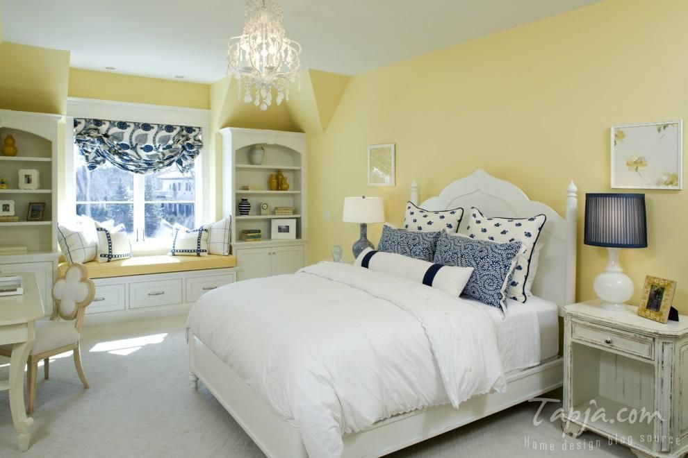 Yellow Color Bedroom Decor With Lighting Fixture And Bench Near Windows Cushions Large Shelves