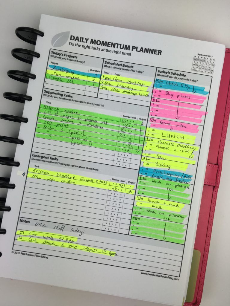 Planning Using The Daily And Weekly Momentum Planner By Productive - Productivity planner review