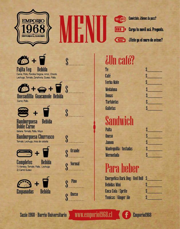 Cartas de menus originales buscar con google dise o for Disenos de menus para cafeterias