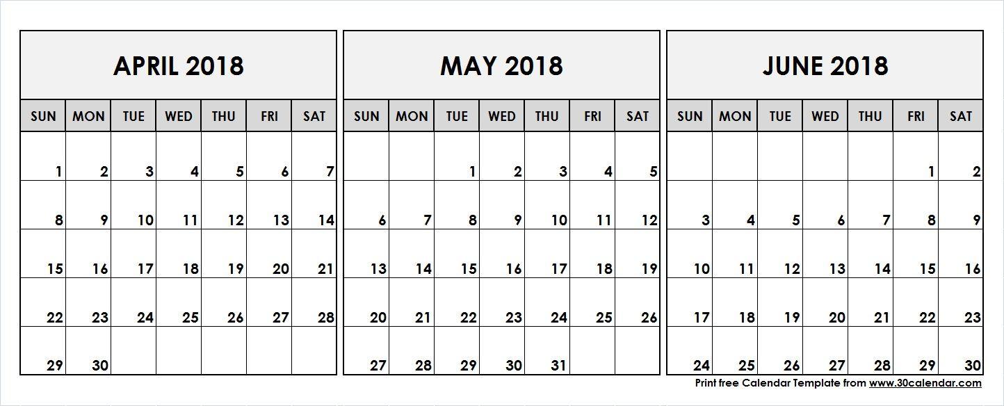 April May June 2018 Printable Calendar Template | Pinboard