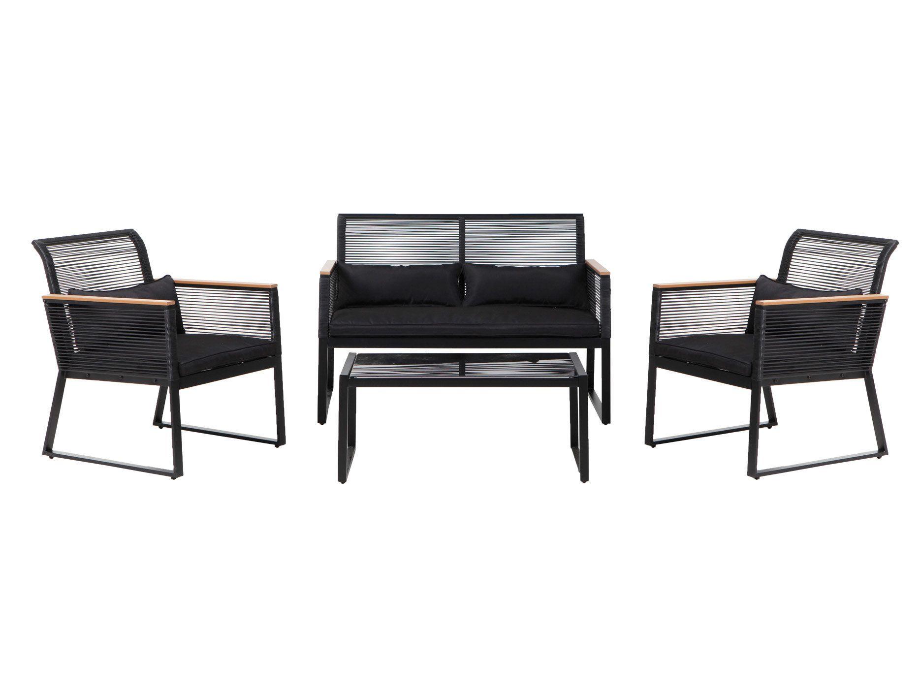 Salon de jardin 4 places acier noir : 1 table basse + 1 canapé + 2 ...