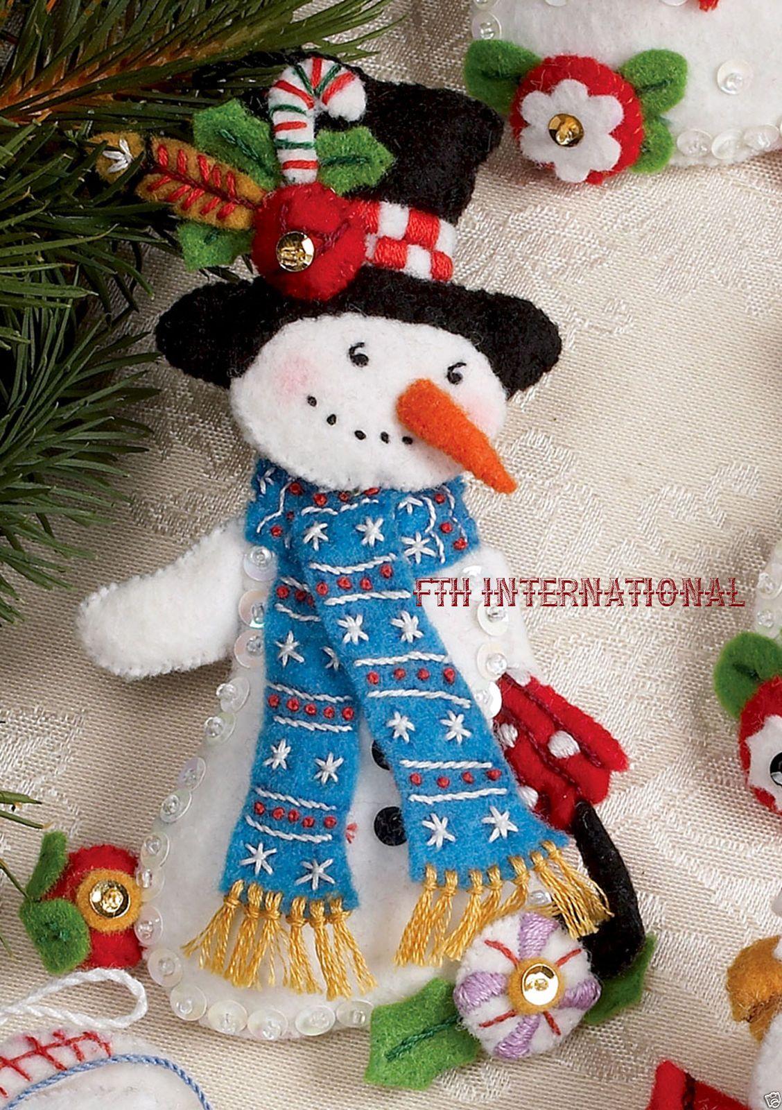 Details about Bucilla Let It Snowman 6 piece Felt