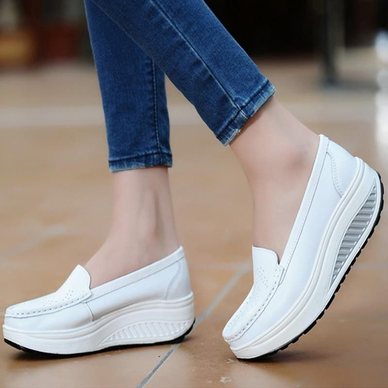 105a198bf89 Women s Platform Shoes For Women Genuine Leather Footwear Woman White Black  Pink Comfort Nurse Wedges Breathable Swing Pumps