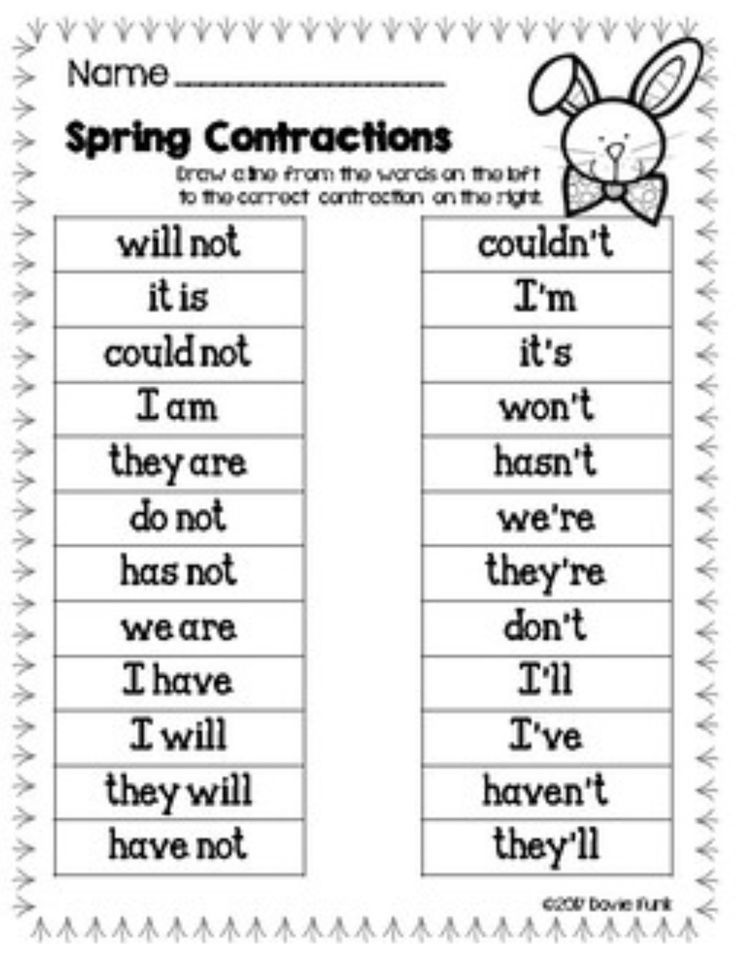 Printable Worksheets worksheets for substitute teachers : Contractions Worksheets and Literacy Center - Easter Eggs ...