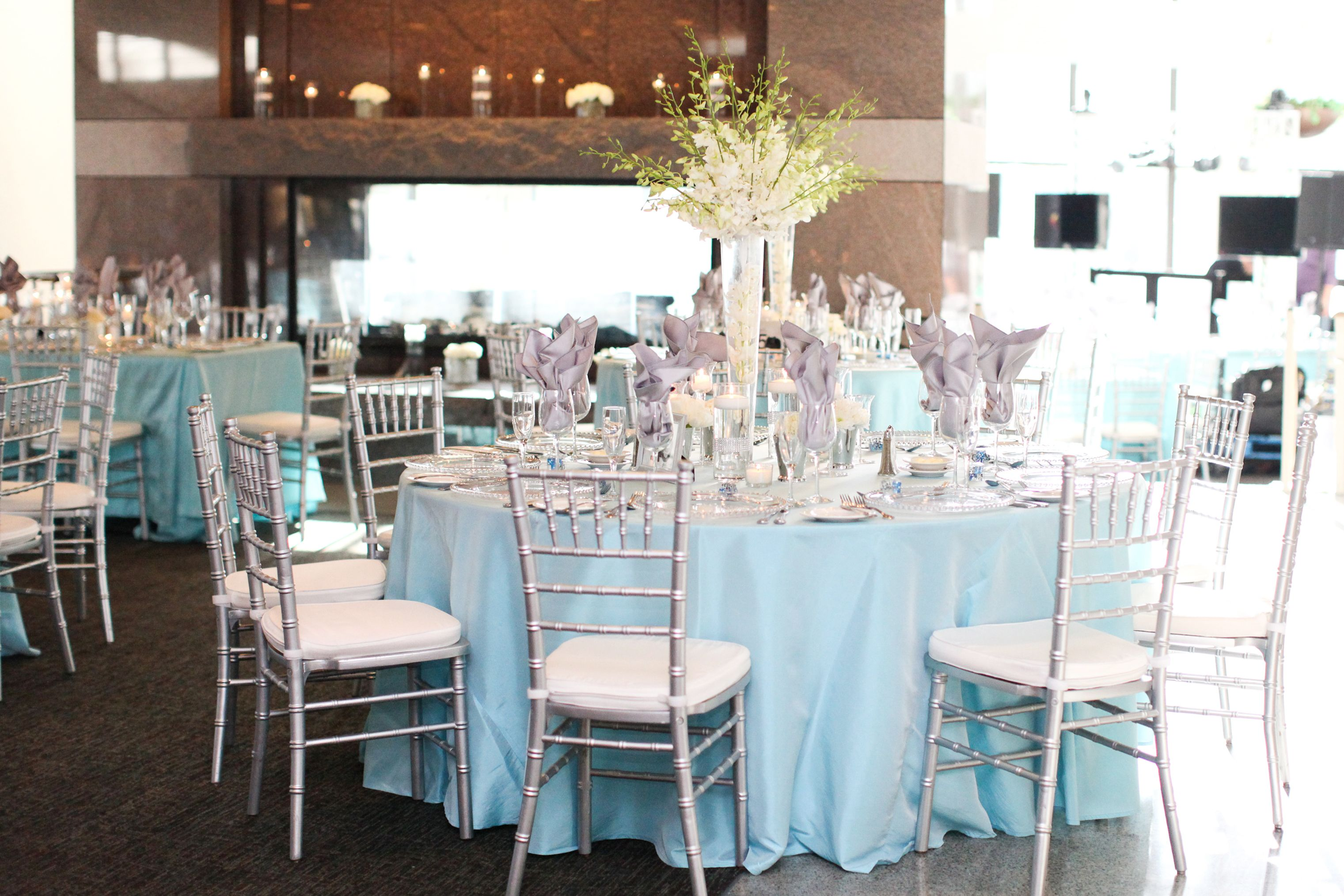 Orchid Centerpiece White Tall Light Blue And Silver Wedding Tiffany