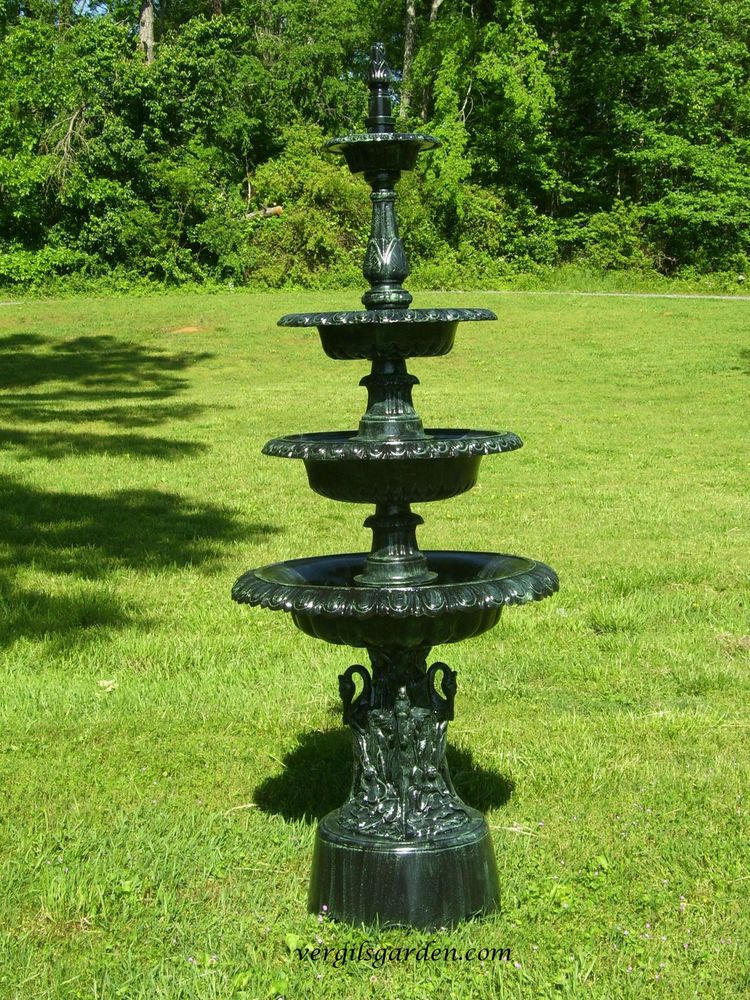 Perfect Cast Aluminum French Victorian Outdoor Four Tier Garden Water Fountain  Antique