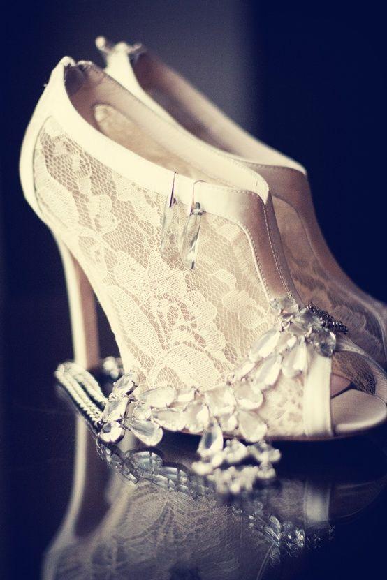 Vintage lace peep toe wedding shoes. Gorgeous ivory lace wedding boot