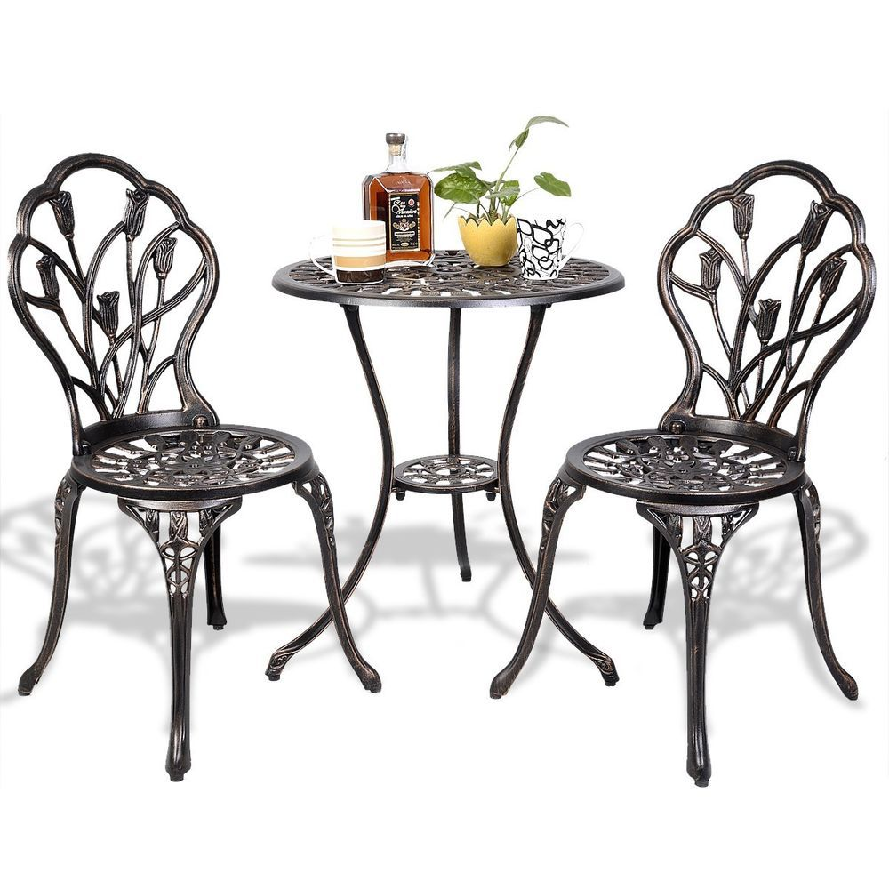 3pc Cast Aluminum Patio Bistro Furniture Set Garden Chairs Table Antique Bronze Patio Dining Pool Yard Garden Furniture Gardenfu With Images Outdoor Tables And Chairs