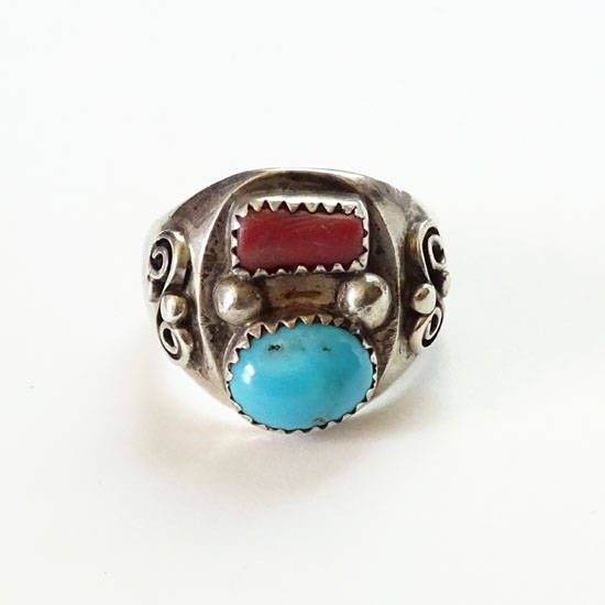 Silver Turquoise Coral Ring Native American /& Southwest Vintage