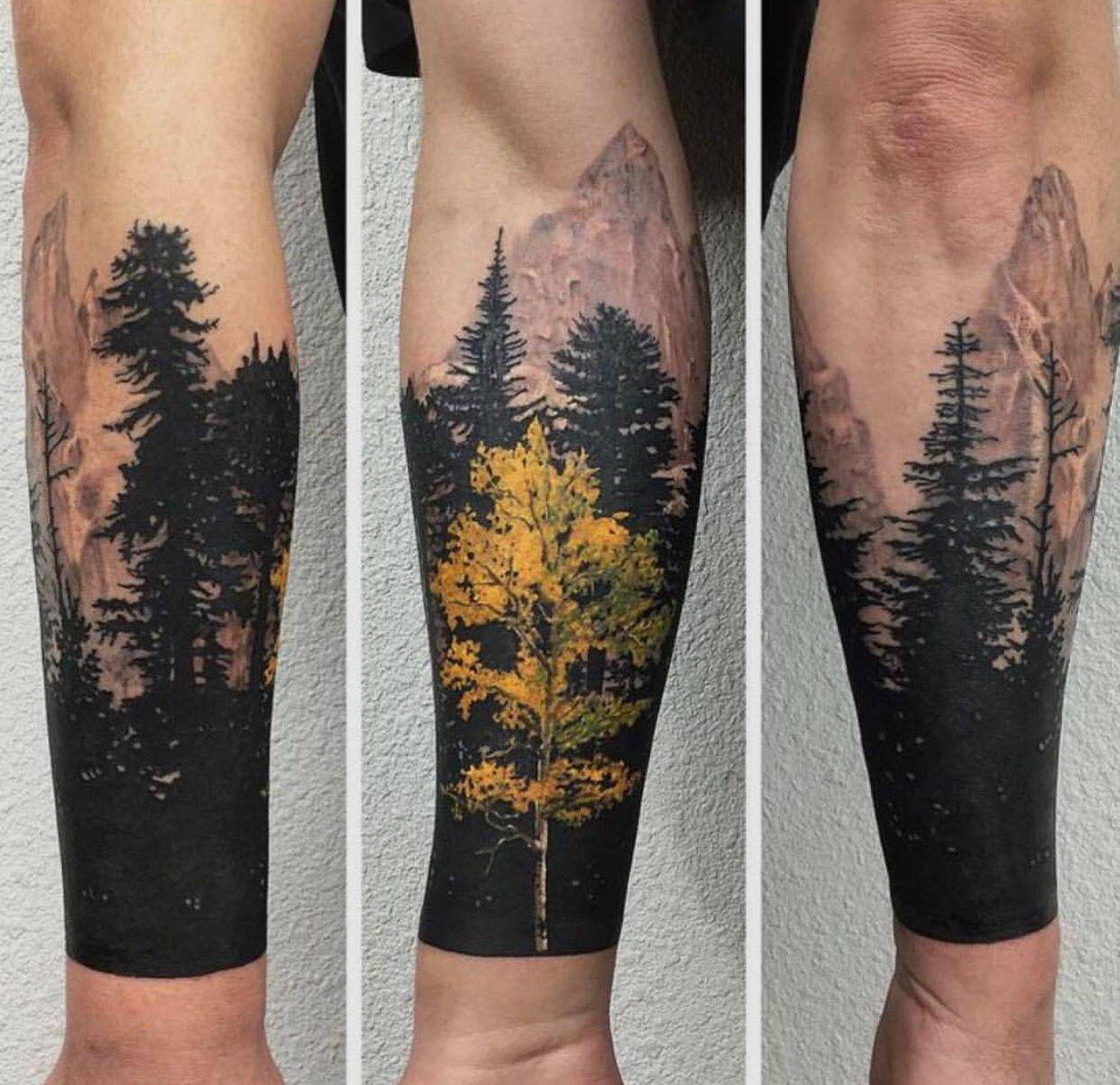 Mountains. Tree sleeve tattoo