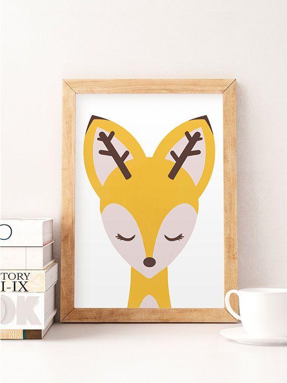 Cute deer print, Yellow nursery, Yellow baby room, Deer wall decor ...
