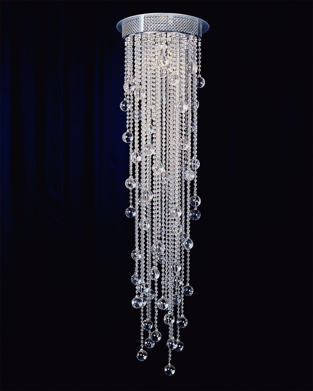 Boyd lightings cascade round series was designed by todd rugee composed of cascading crystal beads this flush mount ceiling series is the perfect modern chandelier available in 7 sphere options and 4 arubaitofo Gallery