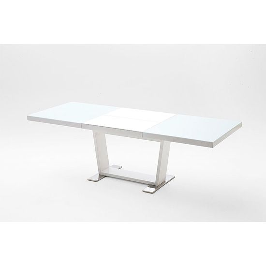 manhattan extendable dining table with white glass and gloss - White Glass Extending Dining Table