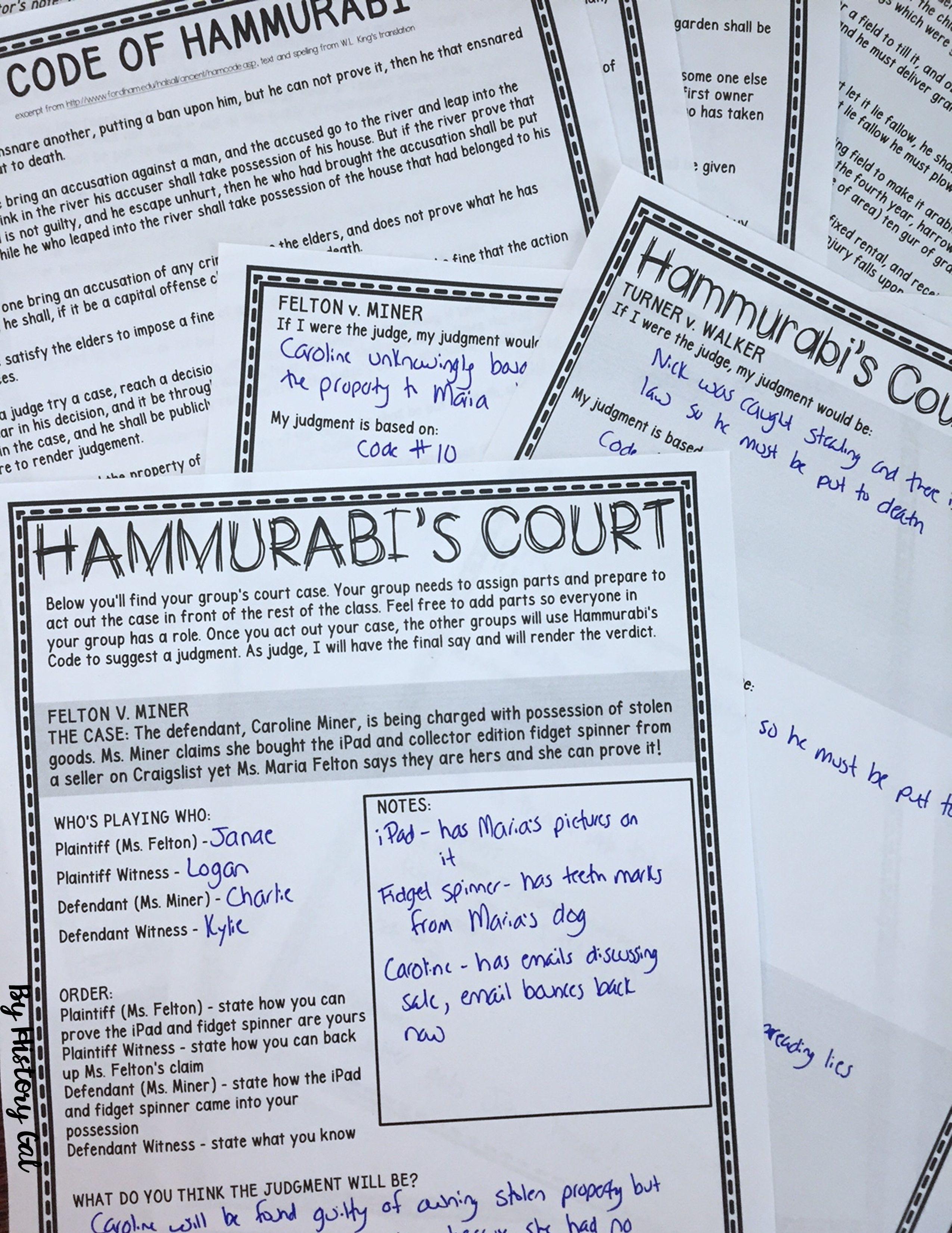 Hammurabi S Court A Fun And Engaging Activity To