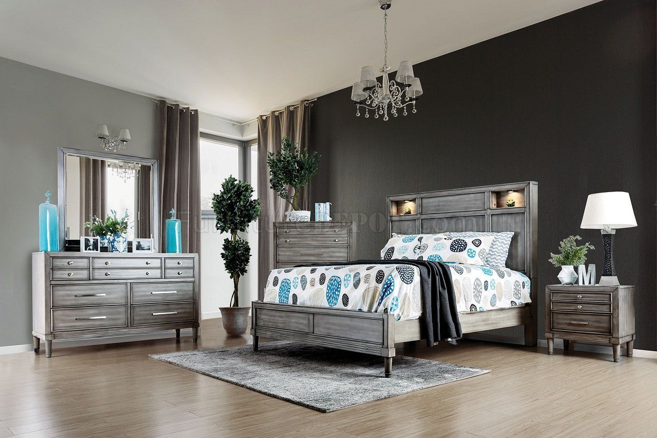 Daphne Transitional Style Gray Finish Wood Queen Bed Set By Foa