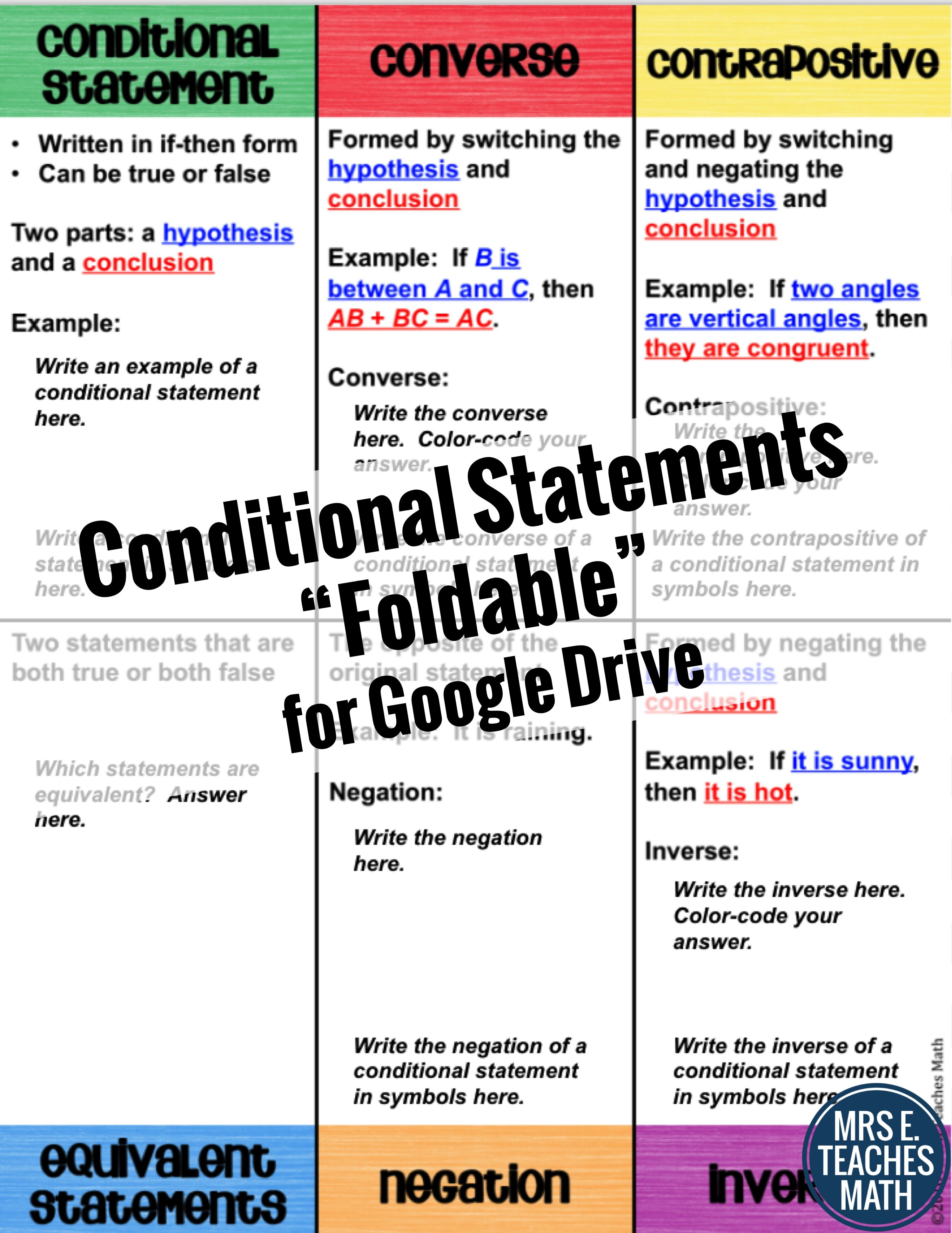 Conditional Statements Digital Foldable