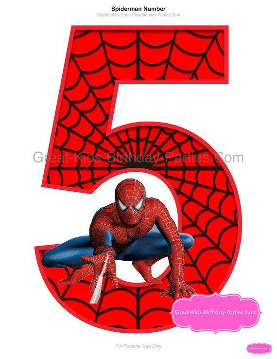 SPIDERMAN PRINTABLE NUMBER 5 Centerpiece - Instant Download. Spiderman Birthday. Spiderman Clipart.Spiderman Party Supplies. Spiderman Party #number5
