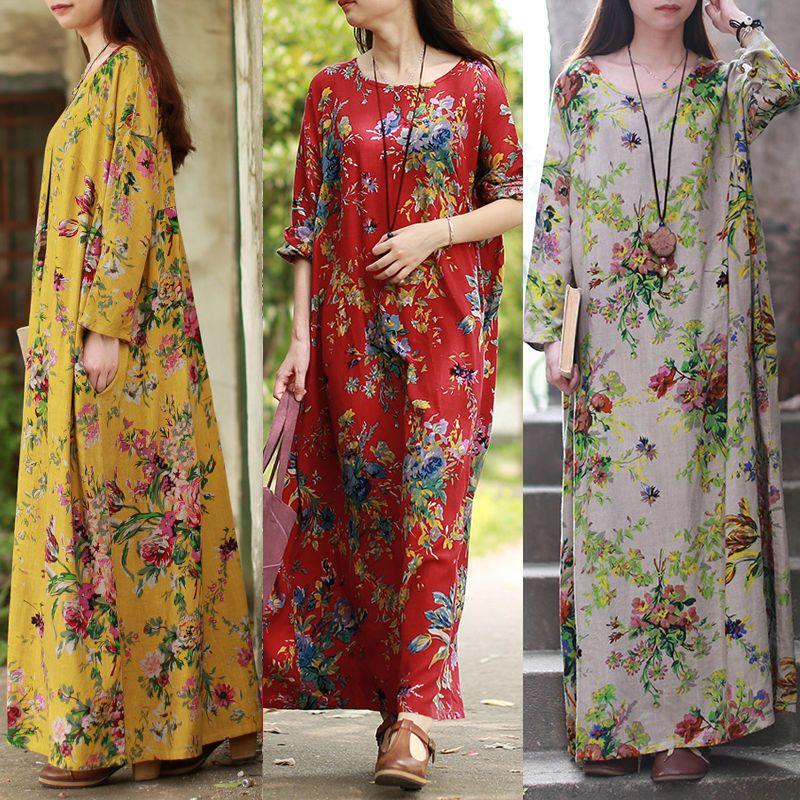 bf056266de £6.99 GBP - Uk 14-24 Zanzea Womens Vintage Floral Casual Loose Long Maxi  Dress Kaftan Plus #ebay #Fashion