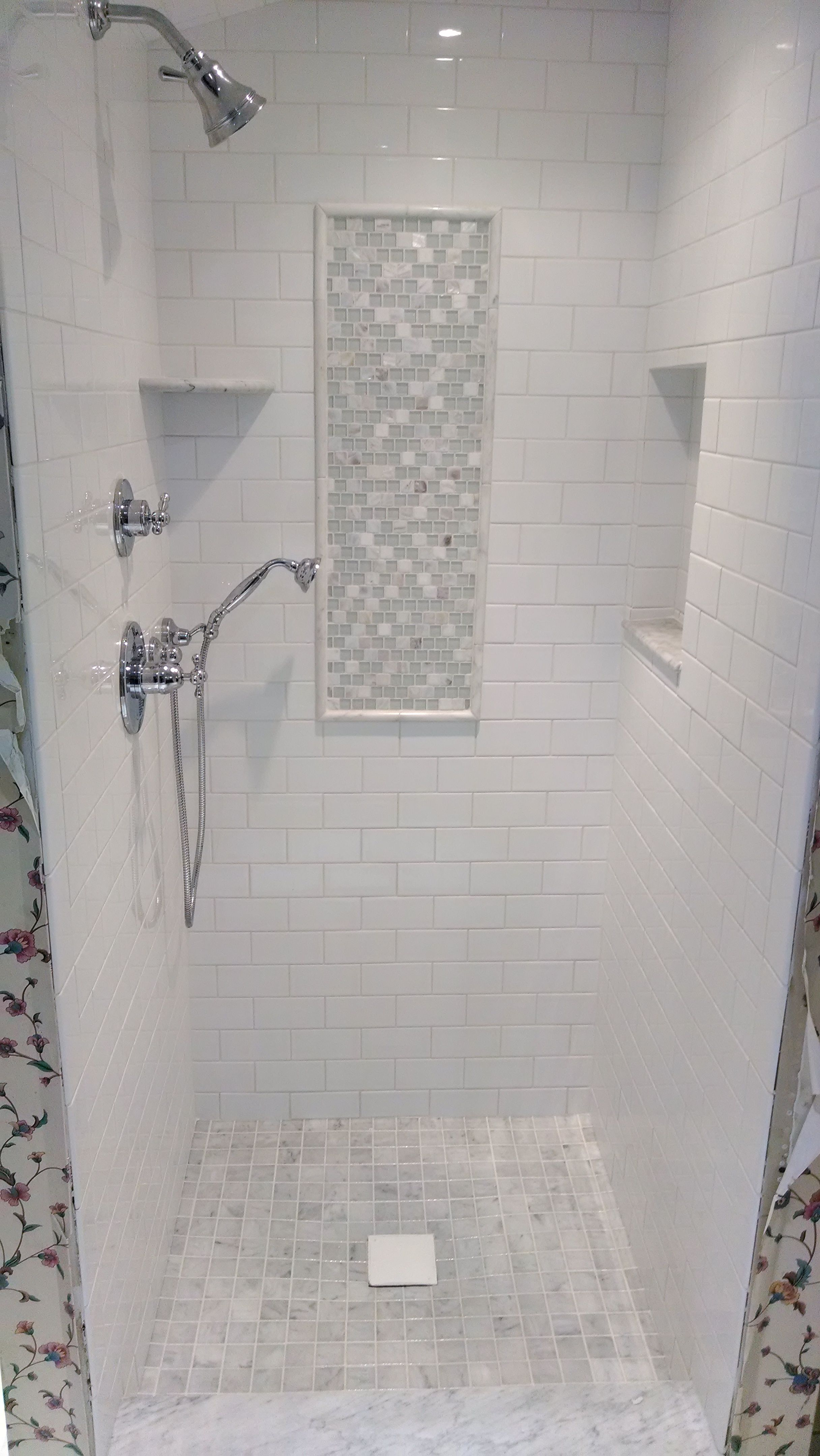 White Subway Amp Marble Tile Shower Google Search