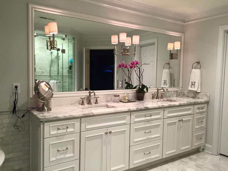 Merveilleux Master Bath Vanity, Homecrest Cabinetry, Tuscany Maple With Alpine White  Finish, White Carera