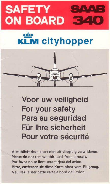 Klm City Hopper Safety Card Vliegtuig Luchtvaart