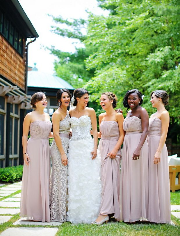 ruffled dusty pink mismatched bridesmaid dresses ideas