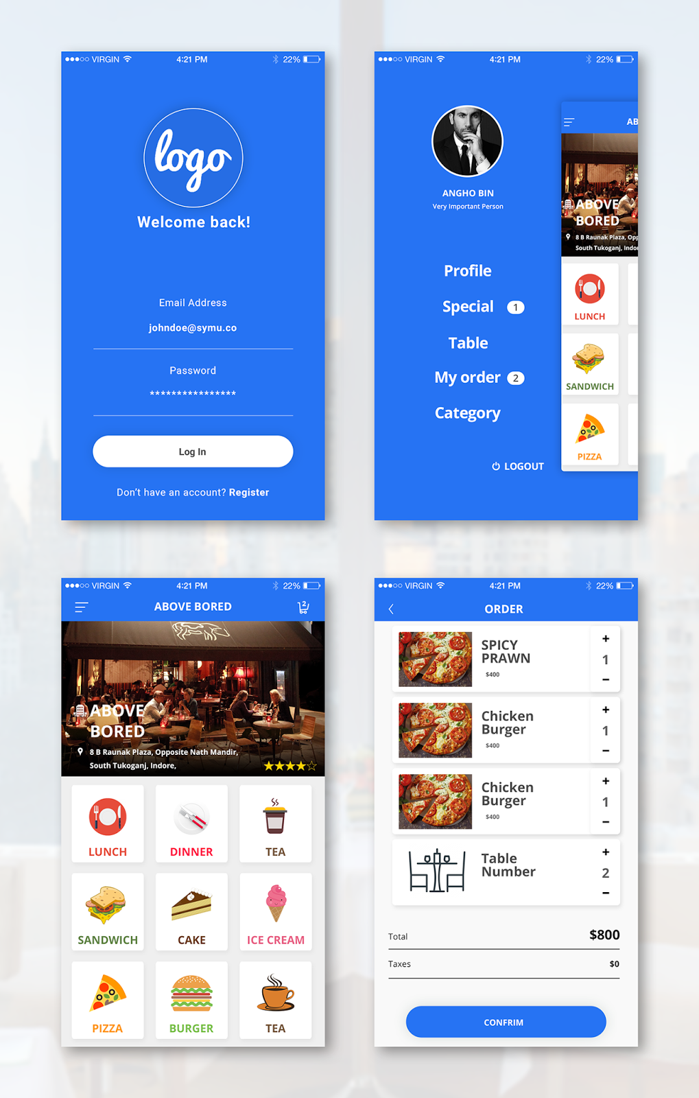 Restaurant App Design Template Free Android, iOS App For