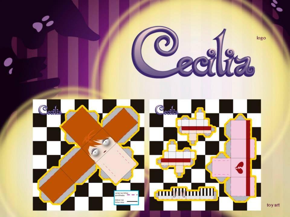 livro infantil 'Cecilia'. Logo do livro e toy art da personagem principal.