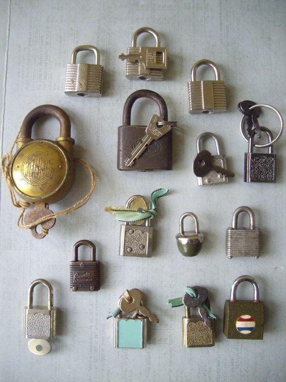 15 Vintage Miniature Tiny Lock Padlocks With Keys By Keyboogie 41 00 Vintage Miniatures Key Lock Safe Lock