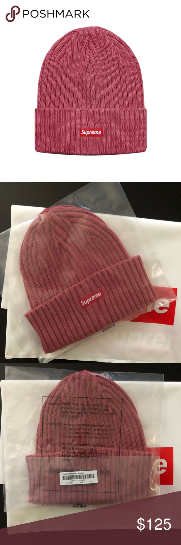 4cddff7b5ed Supreme Overdyed Ribbed Beanie Brand new Beanie SS18 drop never removed  from packaging Style- washed Magenta Supreme Accessories Hats