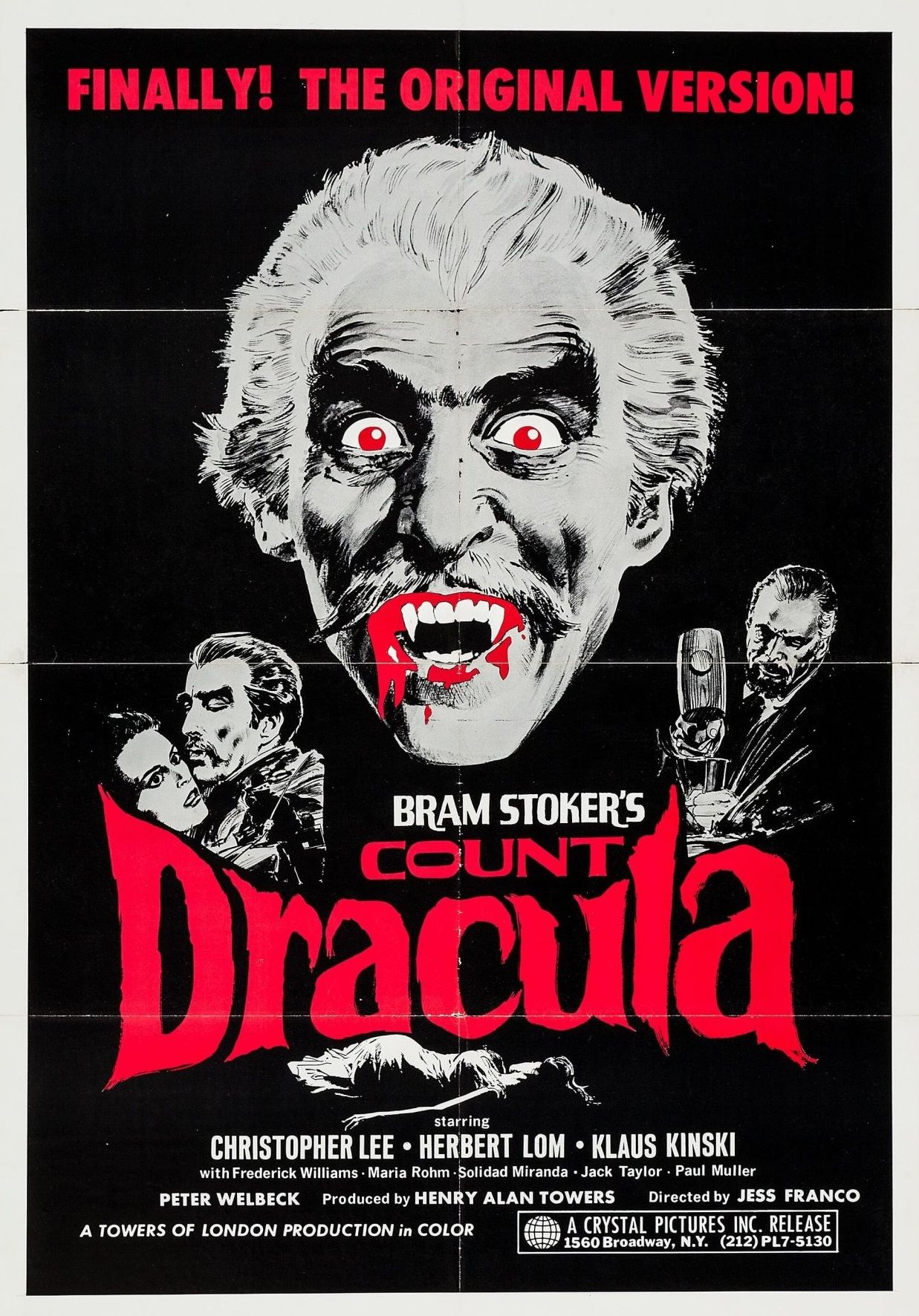 Count Dracula Christopher Lee Horror movie poster print