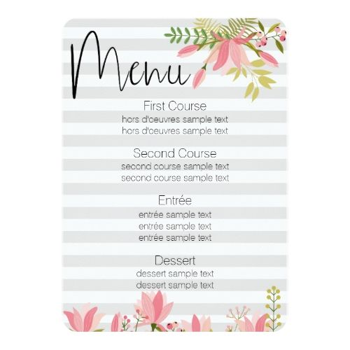Floral Stripe Wedding  Garden Party Theme Menu Card  Menu Cards