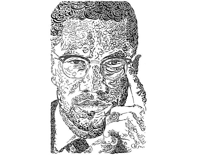 american calligraphy drawings portrait of malcolm x by american artist everitte gurney barbee
