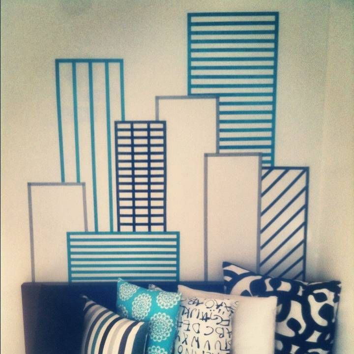 Cheap simple and great decoration for the bedroom washi for Washi tape wall designs