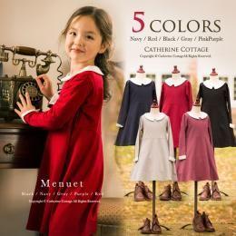 cb5aec54bf4cc 商品番号: TM0001 長袖ワンピース 女の子ワンピース 白衿付き  子供服 キッズ フォーマル