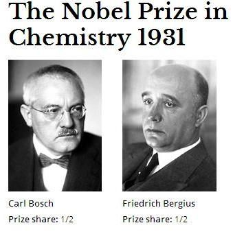 a biography and work of the nobel prize winning chemist fritz haber Fritz haber ( german:  9 december 1868 – 29 january 1934) was a german chemist who received the nobel prize in chemistry in 1918 for his invention of the haber–bosch process , a method used.