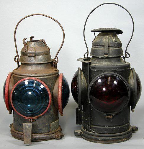Two Old Railroad Train Lanterns Dec, Train Lantern Lamp