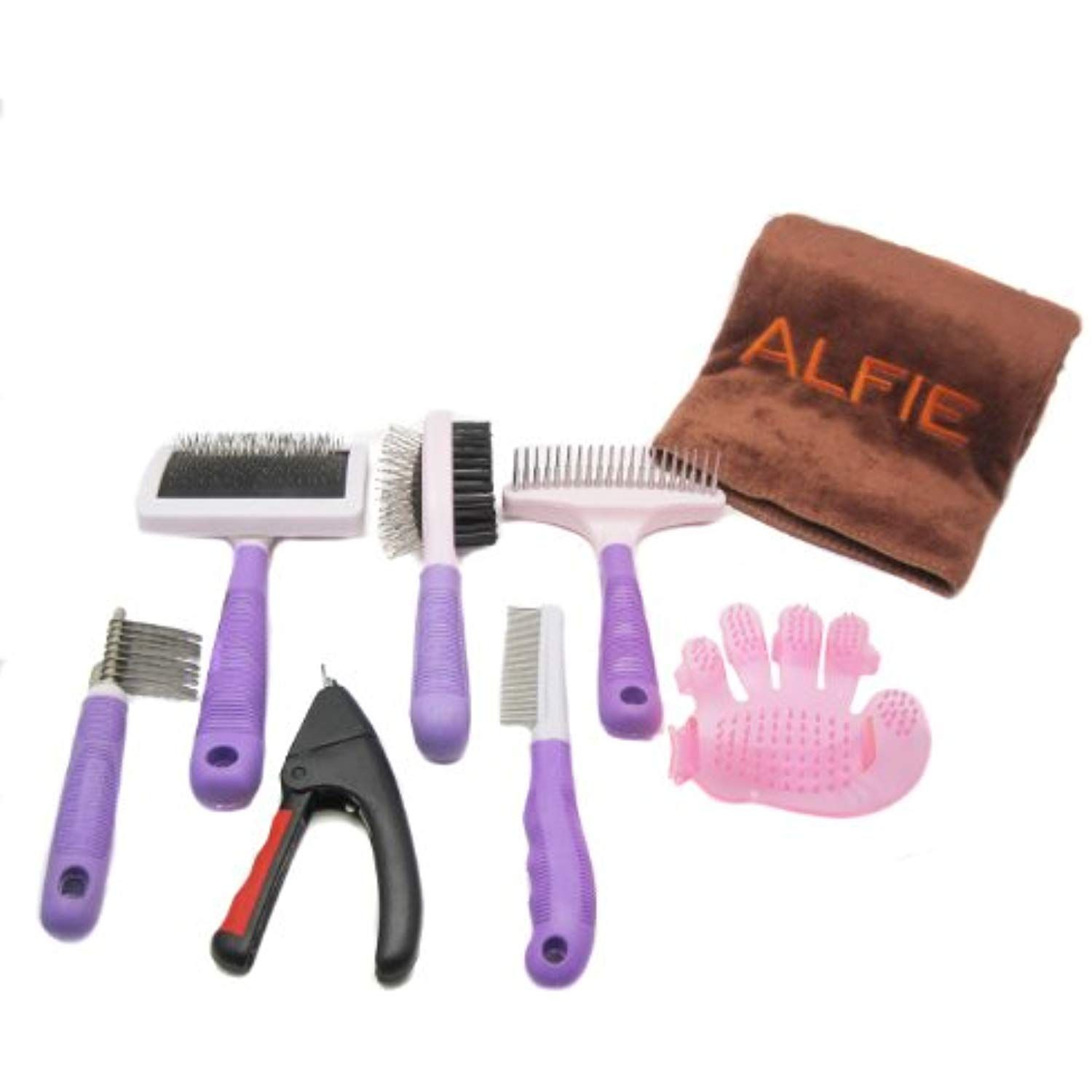 Alfie Pet By Petoga Couture 7 Piece Home Grooming Kit With Microfiber Fast Dry Towel Double Sided Brush Flea Comb Massage Gloves Grooming Kit Cat Grooming