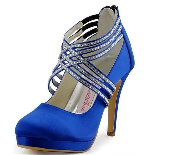 Women High Heel Shoes Platform Navy Blue Cross Strap