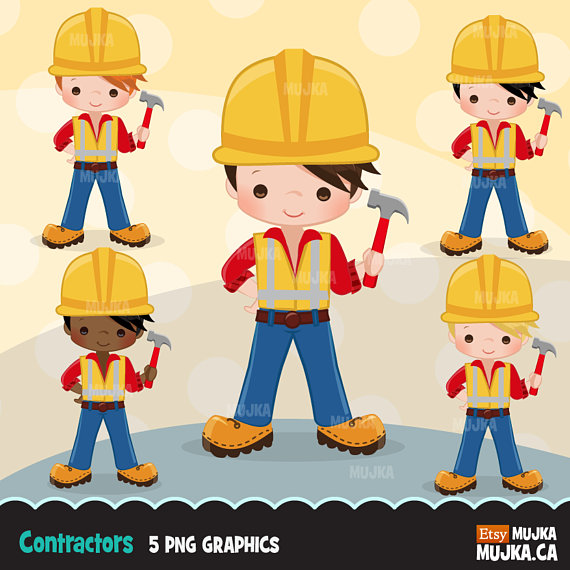 Construction Clipart Little Boy Contractor Graphics Hard Etsy Planner Stickers Clip Art Digital Embroidery