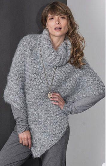 modele de poncho au tricot gratuit