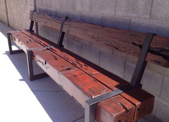 Muebles moderno rustico Banco de madera de por RustyRailDesigns ...