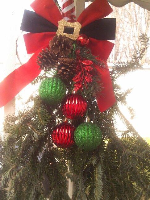 Door Hanger With Leftover Tree Branches Leftover Christmas Tree Christmas Tree Branches Christmas Tree